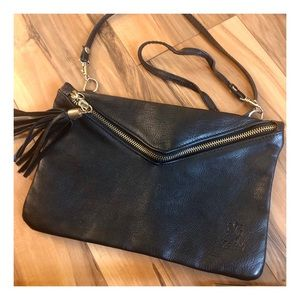 Vintage Black Leather Crossbody Purse, Italy
